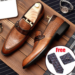 Phenkang mens formal shoes genuine leather oxford shoes for men black 2019 dress wedding slip on leather brogues shoes
