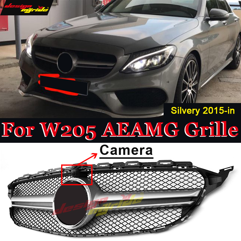 W205 ABS Silver Sport Front Grille Without Emblem For Benz W205 C-class C180 C200 C250 C300 400 With Camera Front Bumper 2015-in image