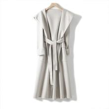 Shuchan Hooded Long Coat Women  Adjustable Waist Belt Wide-waisted High Street Solid Coats and Jackets 100% Wool