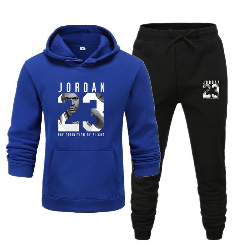 New Men Hoodie Set Jordan 23 Tracksuit Sweatshirt Set Fleece Hoodie + Sweatpants Jogging Homme Pullover Sweatsuit For Men
