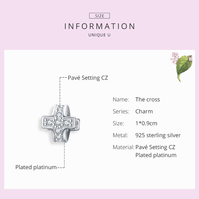 bamoer Dazzling Cross Metal Beads with Silicone Stopper Charm for Women Sterling Silver Fashion Jewelry Accessories SCC1292