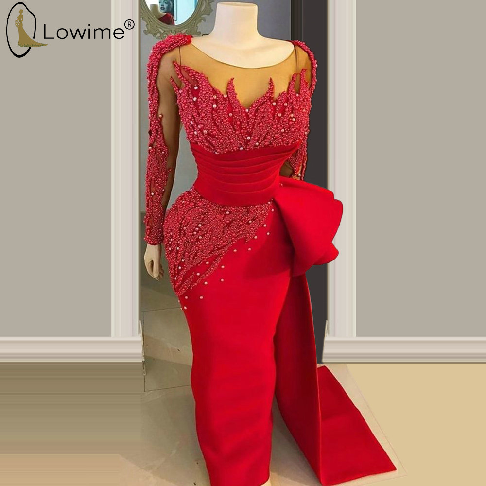Heavy Beading Red Long Sleeve Mermaid Evening Dresses Middle East Dubai Vestido De Festa Prom Party Gowns