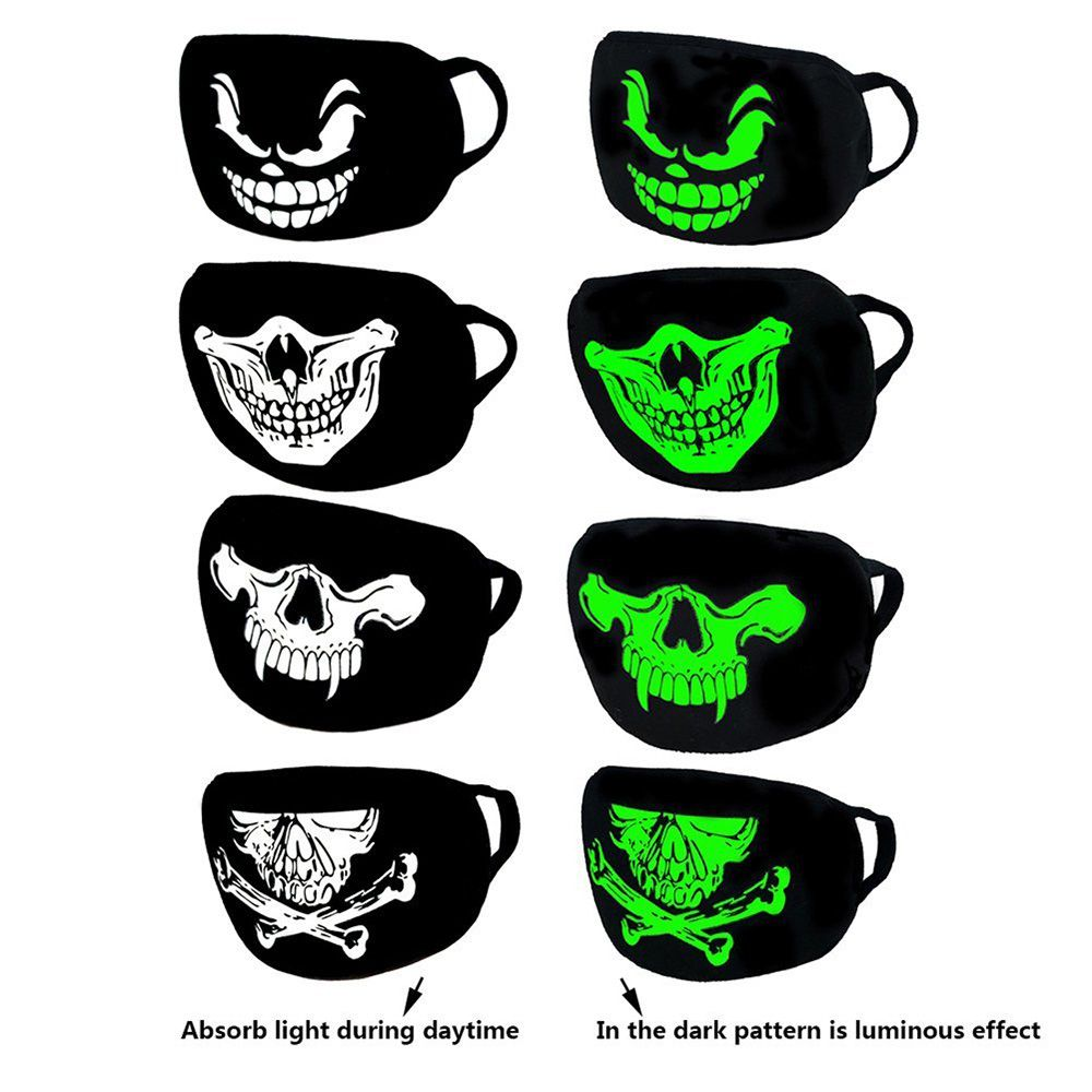 Waterproof LED Luminous Flashing Creative Funny Skull Teeth Face Mask Party Masks Light Up Dance Halloween Cosplay