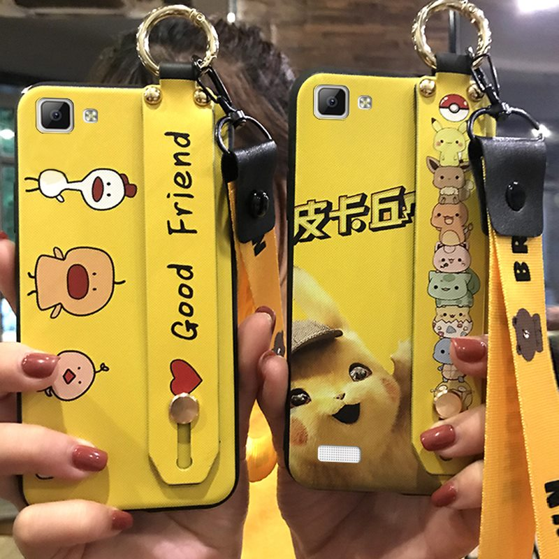 Lanyard Phone <font><b>Case</b></font> <font><b>VIVO</b></font> <font><b>Y35</b></font> Shockproof Cute Cartoon Series TPU Cover Phone Holder Delicate Silicone image