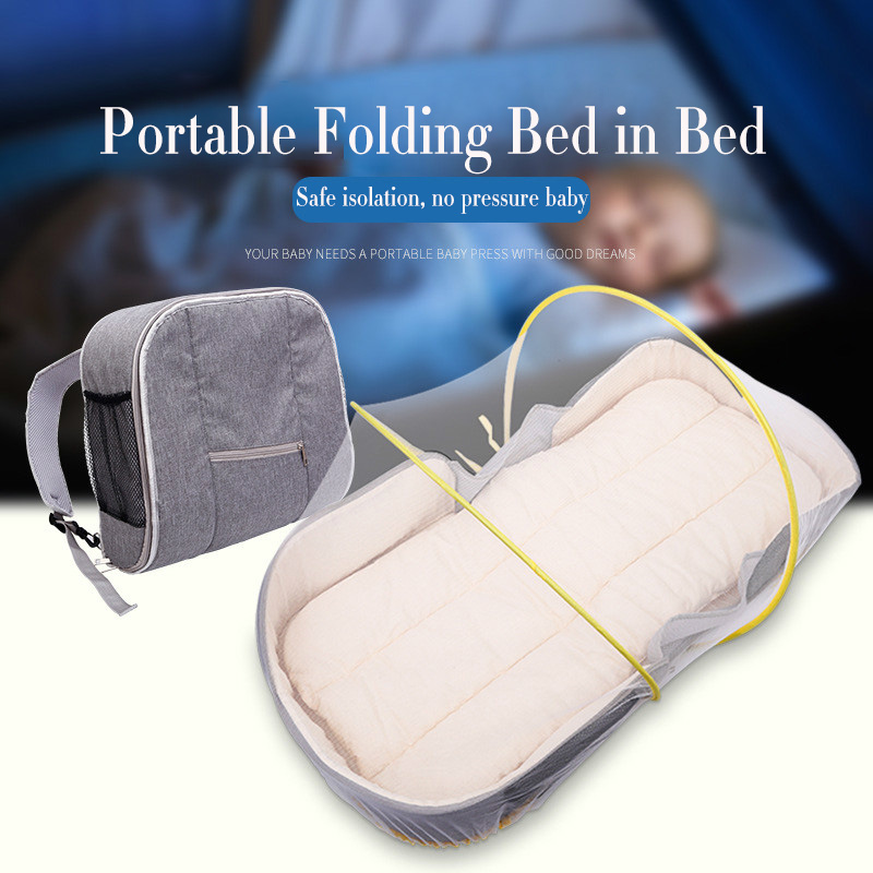 Portable Crib Bed with Mosquito Net Multi-function Mummy Backpack Large Capacity Folding Mobile Cot Baby Travel Crib