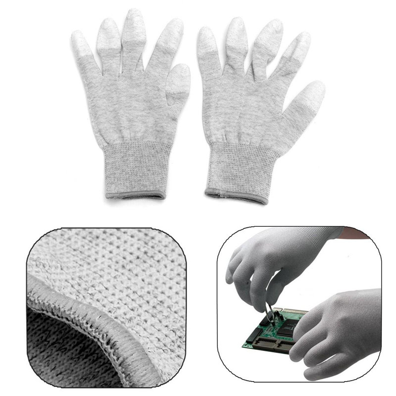 1Pairs AntiStatic ESD Safe Gloves Anti-static Anti-skid PU Finger Top Coated For Electronic Repair Works