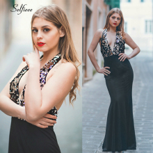 Sexy Black Maxi Dress Mermaid Deep V-Neck Sequined Backless Spakle Bodycon Elegant Laides Party Vestido Longo 2019