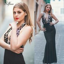 Sexy Black Maxi Dress Mermaid Deep V-Neck Sequined Backless Spakle Bodycon Elegant Laides Party Vestido Longo 2019