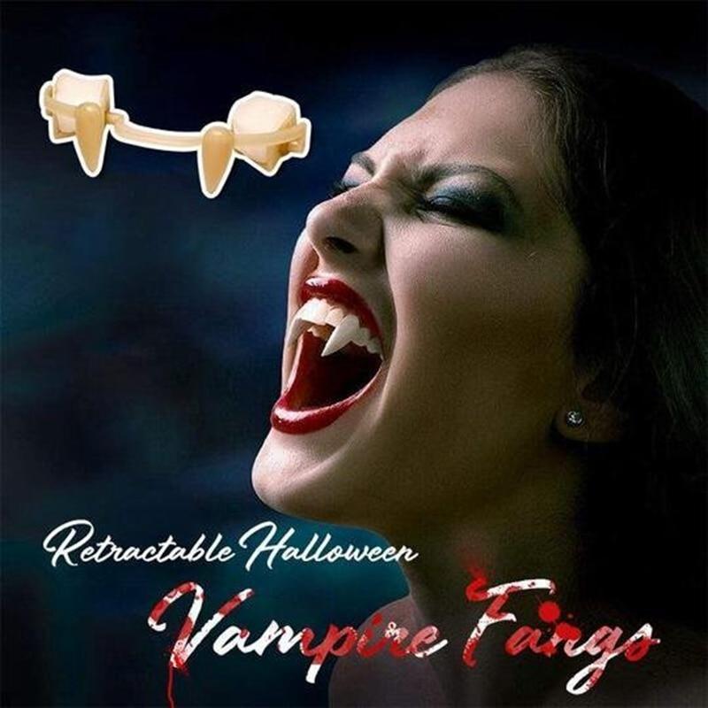 Halloween Retractable Vampire Teeth Dentures Zombie Teeth Small Tiger Teeth Vampire Fangs Retractable Dentures For Adult Kids 1