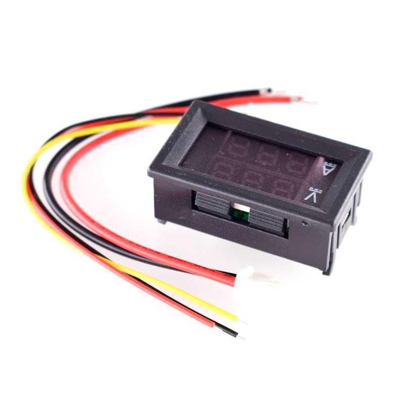 DC 0-100V 100A voltmètre numérique ampèremètre double affichage détecteur de tension compteur de courant panneau ampèremètre Volt jauge 0.28 pouce 1 rouge rouge LE
