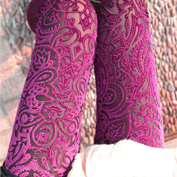 New Style Gold Velvet Lace Burning Flowers Peach Heart Hollow Out Leggings Women's Hollow Out Elasticity Gold Velvet Casual Pant