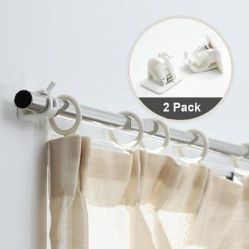 цена на 2Pcs Self-Adhesive Hooks Wall Mounted Curtain Rod Bracket Shower Curtain Rod Fixed Clip Hanging Rack