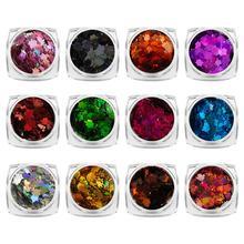 1Set Beauty Discolor Maple Leaf Nail Effect Flake Nails Accessories Sequins Mirror Powder Chrome Pigment Paillette Glitter