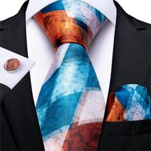 New Designer Fashion Men Tie Gold Blue Novelty Wedding For Hanky Cufflink Silk Set DiBanGu Dropshipping  MJ-7258