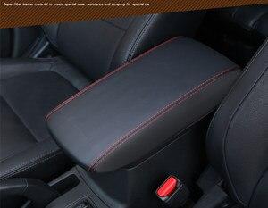Para Mitsubishi Outlander 2013 2016 2018 almohadilla Reposabrazos de coche de cuero consola central apoyabrazos caja de almacenamiento cubierta protectora cojín