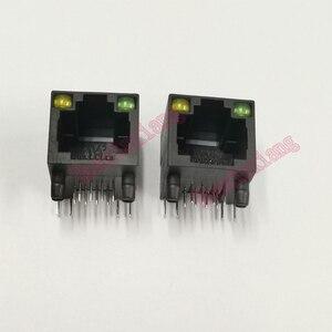 Image 2 - 100 יח\חבילה פלסטיק שחור RJ45 8P8C שקע מחבר עם LED PCB הר רשת אינטרנט מודולרי