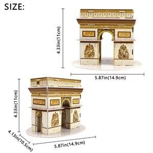 Image 2 - Karton bina modeli 3D oyuncaklar bulmacalar çocuklar için DIY dünyaca ünlü kule köprüsü beyaz ev yap boz eğitici oyuncaklar hediyeler