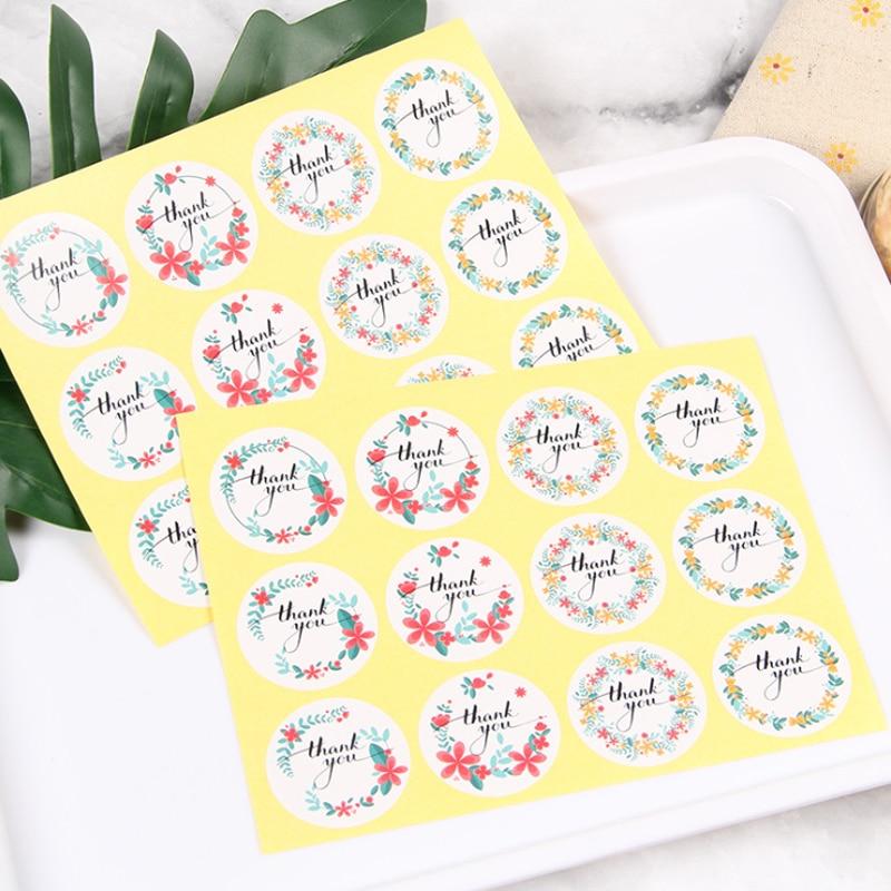 120Pcs/pack Color Garland Thank You DIY Label Diameter 38mm For Gift Cake Baking Sealing Sticker