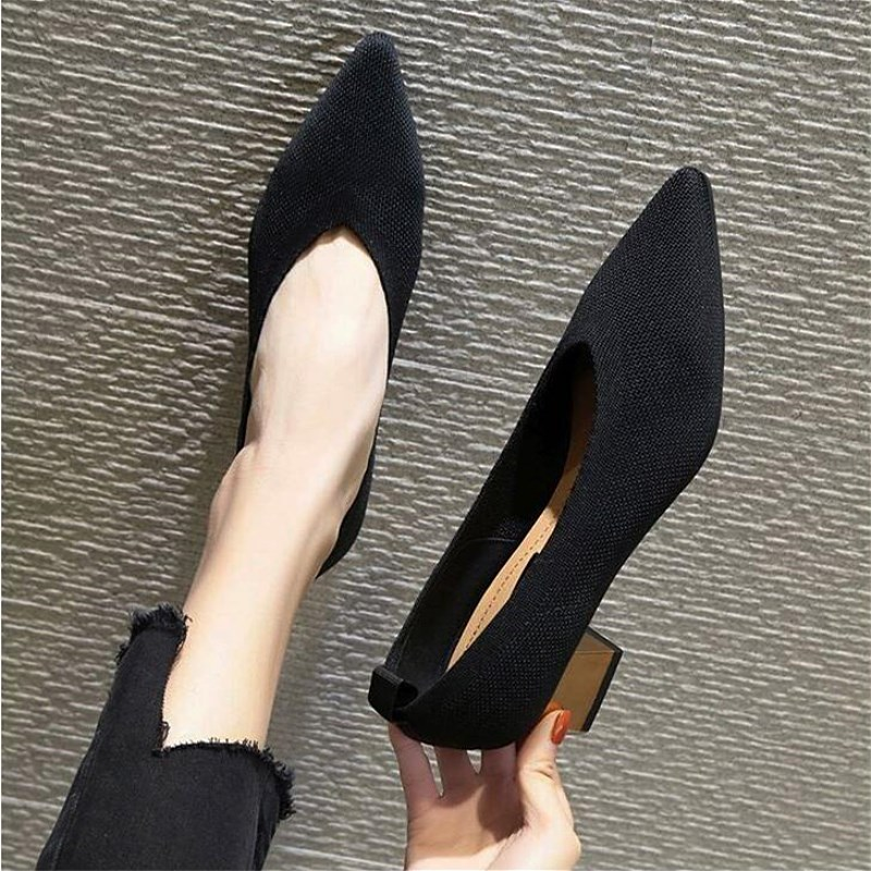 EOEODOIT Fashion Breathable Stretchy Pumps Knit Pointy Toe Med Chunky Heels Slip On Sexy V Mouth Women Casual Office Lady Shoes