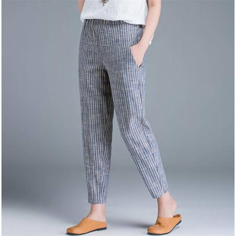 Summer New Style Cotton Linen WOMEN'S Pants Thin Loose Harem Pants Casual Baggy Pants Linen Vertical Striped Skinny Ankle-length