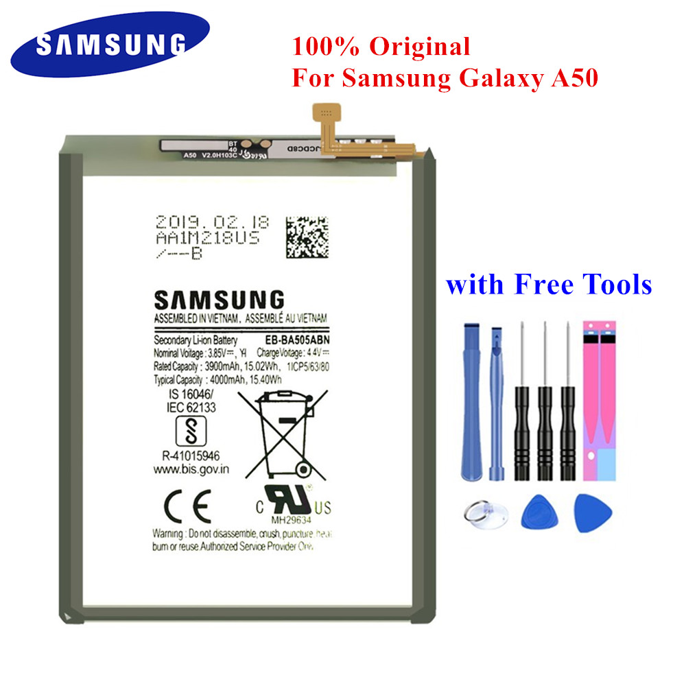 Samsung Genuine Battery EB-BA505ABN For Samsung Galaxy A50 SM-A505F A505FN/DS A505GN/DS A505W EB-BA505ABU 3900/4000mAh +Tools
