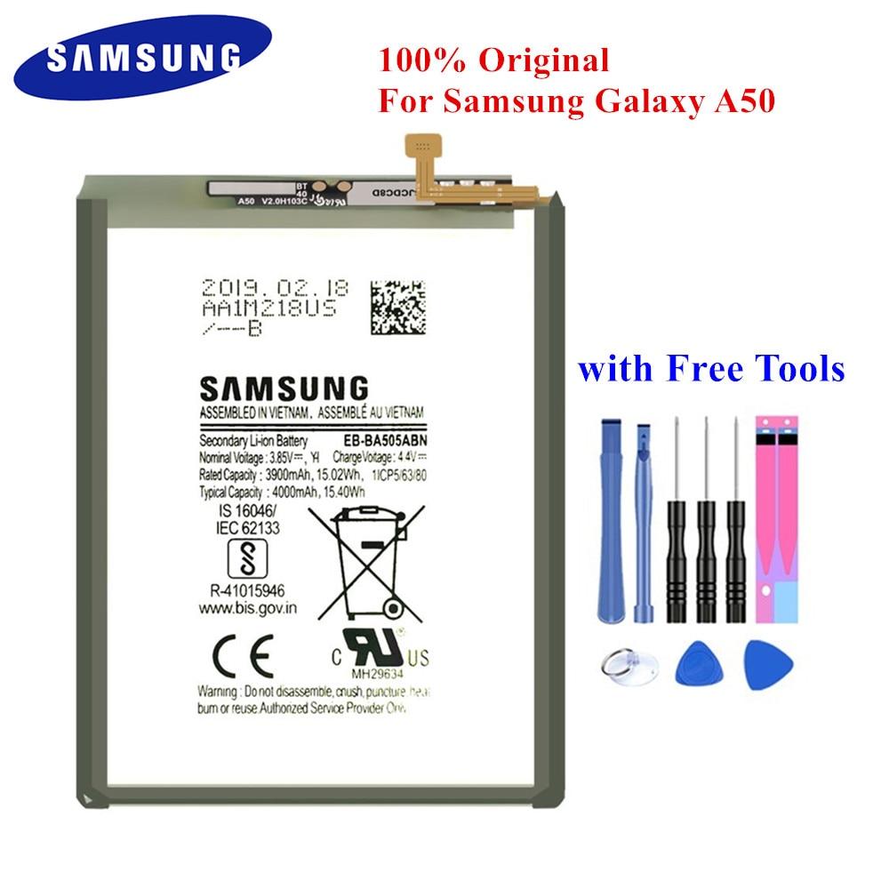Samsung Genuine Battery EB-BA505ABN For Samsung Galaxy A50 SM-A505F A505FN/DS A505GN/DS A505W EB-BA505ABU 3900/4000mAh +Tools