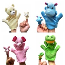 4 Set Finger Puppets Colorful Plush Toys Hand & Finger Puppets Animal Finger For Children (Hippo, Bear, Elephant, Frog Shaped)(China)