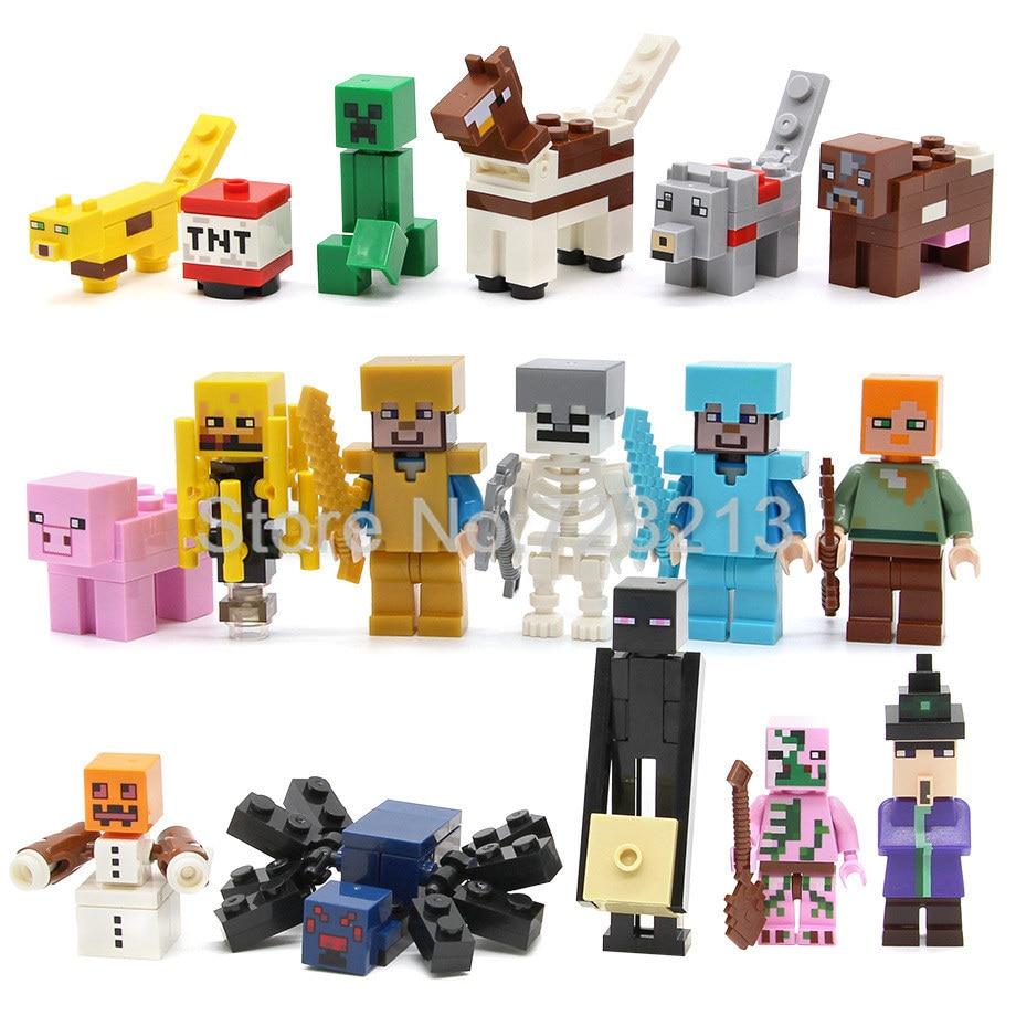 17pcs/lot Cartoon Block Figure Set Villager Animal Game Building Blocks Sets Models Educational Toys For Children Legoing