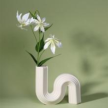 Modern Vase Geometric Lines Architectural Style Home Decorations Flower Holder Ornaments Home Decor Nordic Vases Ceramic Decor