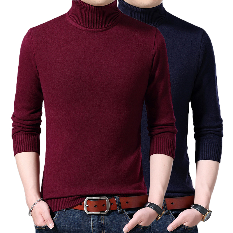 Winter New Men's Thick Turtleneck Sweater Fashion Casual Classic Style Warm Pullover Male Brand Clothes Red Blue White Black