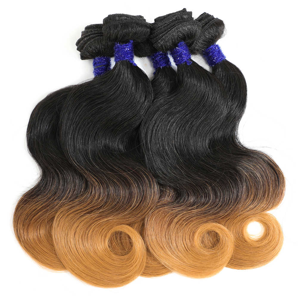 Image Beauty Body Wave Curl Hair 14 inch 5Pieces/lot 240g One Pack Full Head Ombre Hair weave Quality Synthetic Hair Bundles