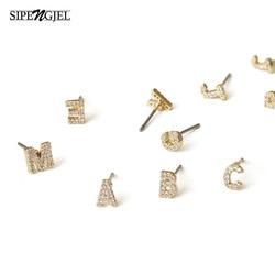 Trendy cubic zircon Gold initail Letter Stud Earrings luxury DIY Small Stud Earrings For Women Fashion Korean Jewelry 2 Pcs