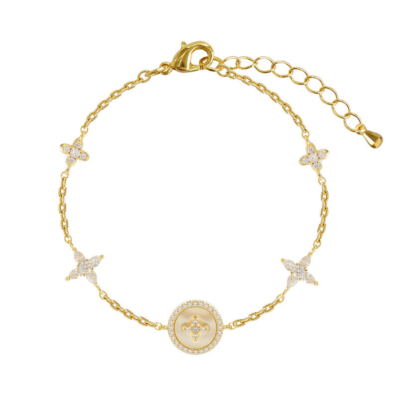 Luxury Fashion Cubic Zirconia Natural Shell Stone Charm Bracelet for Woman Exquisite Gold Chain Cuff Bracelet Girl Jewelry Gift