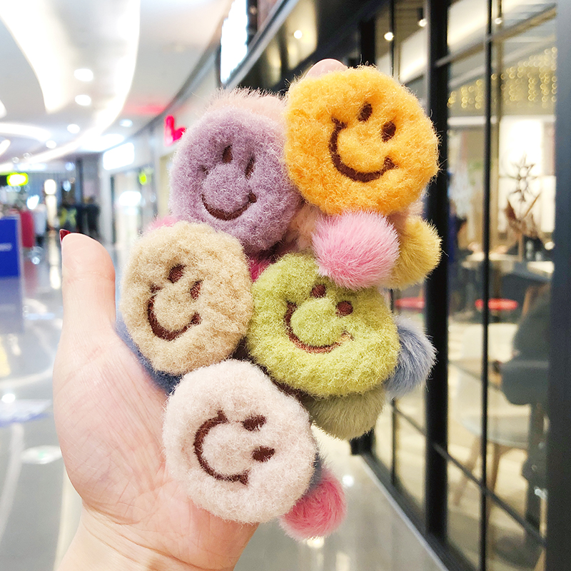 2020 New Winter Children Cute Candy Nylon Smiley Face Elastic Hair Bands Girls Soft Fuax Fur Rubber Bands Kids Hair Accessories