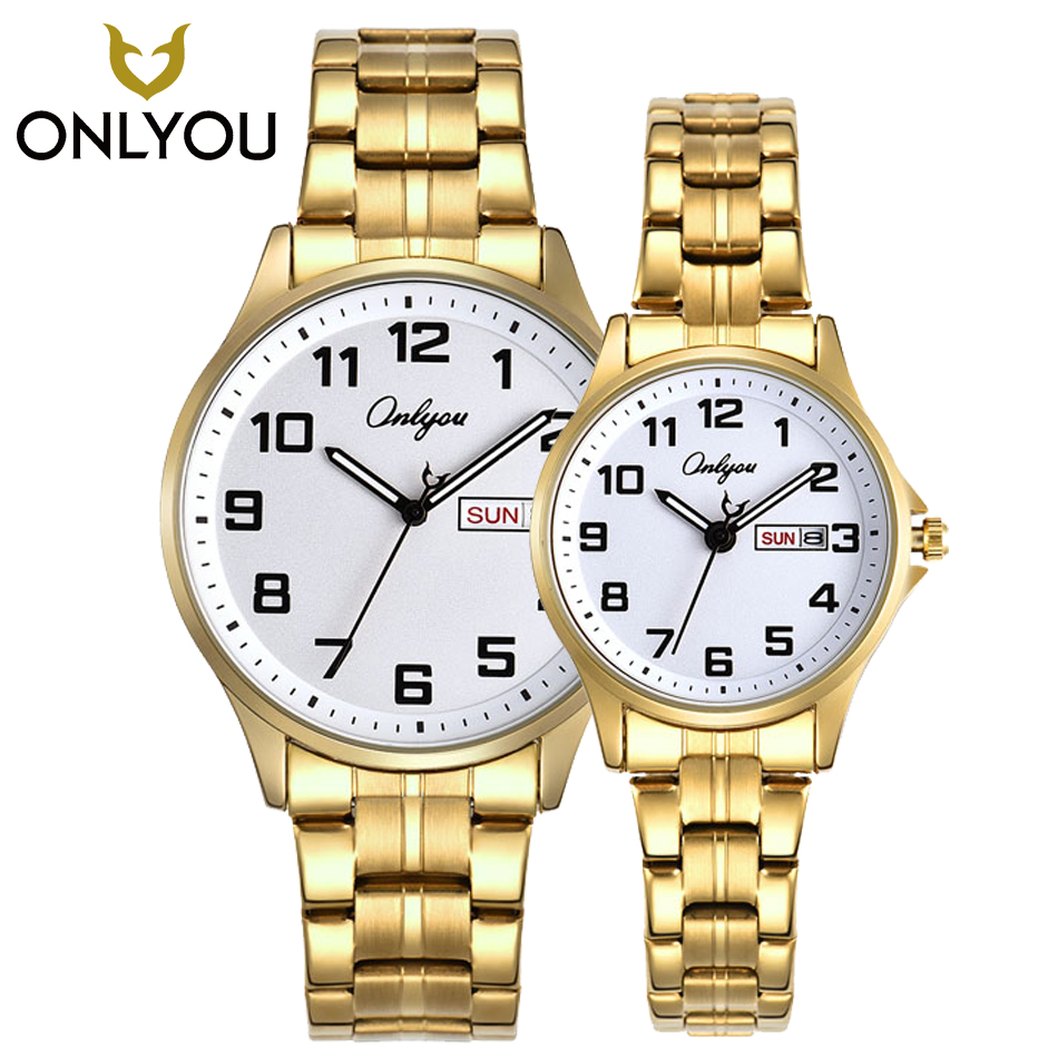 ONLYOU 2PCS Men Business Stainless Steel Math Watch Casual Women Luxury  Lovers Watches Week Displays Clock 81138