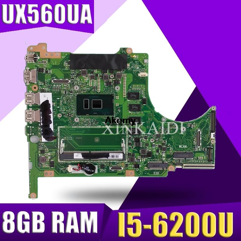 FOR ASUS UX560UA-1B Q504UA Laptop Motherboard W/ I5-6200U CPU PN 60NB0BZ0-MB1300 8GB RAM DDR3 Test Ok
