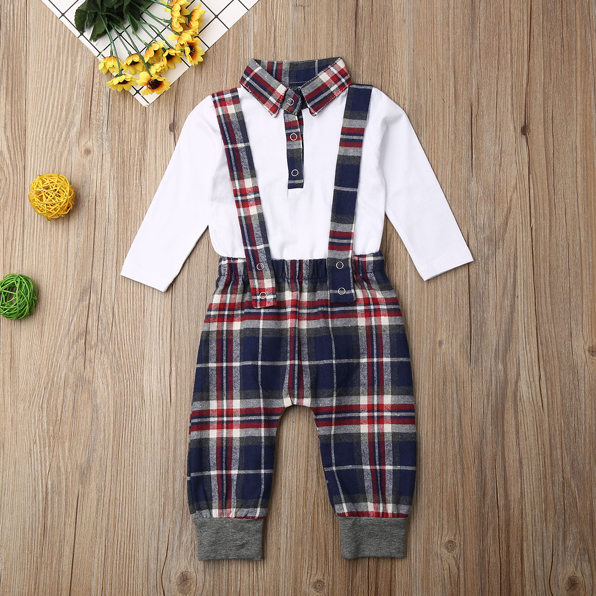 2020 NEW Little Gentle Newborn Baby Boy Clothing Set Round Neck Long Sleeve Shirt  Plaid Strap Trousers Clothes Set For Children