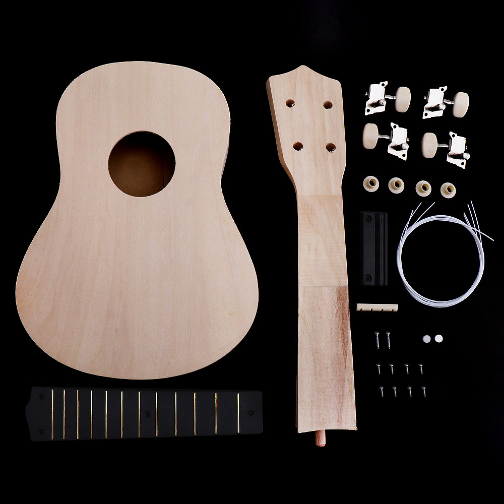 21 Inch Simple Ukulele DIY Kit Hawaii Guitar Handwork Support Painting Children