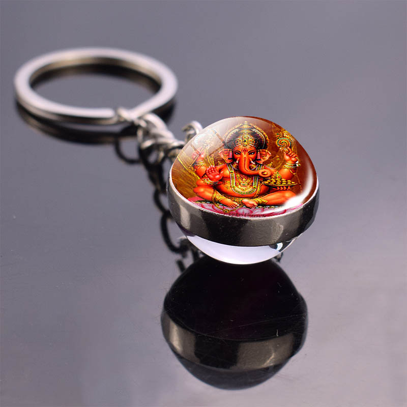 Hamsa Hand Keychain Indian Buddha Ganesha Art Glass Ball Double Side Key Chain Pendant Key Ring Indian Spiritual Jewelry