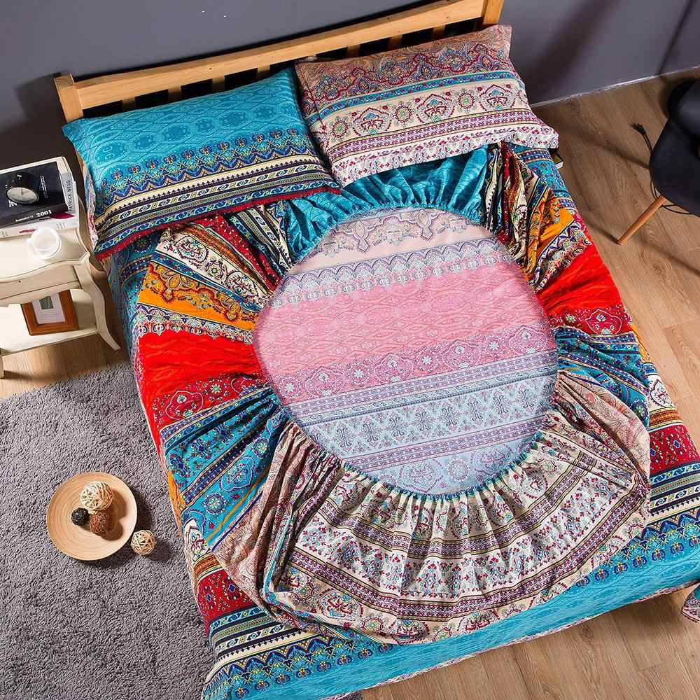 Bohemian Fitted Sheet Mattress Cover wish pillowcase Home Textile queen size bed linen bed Cover