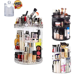 Rotation Makeup Organizer Cosmetic Storage Box Plastic Organizador Maquillaje Transparent Diamond Pattern Jewelry Display Rack