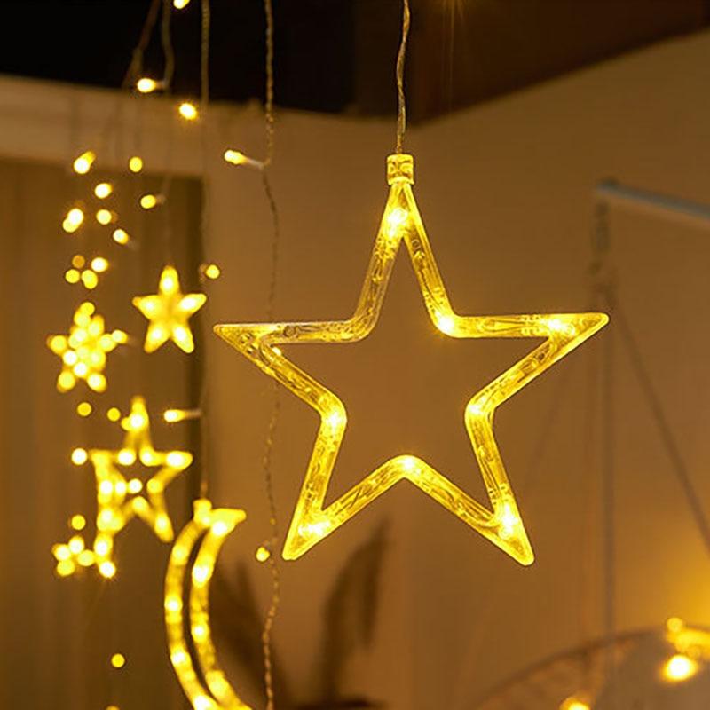 Image 4 - 220V EU Plug Moon Star LED Curtain Lights Christmas Fairy Garlands Outdoor LED Twinkle String Lights Holiday Festival Decoration on