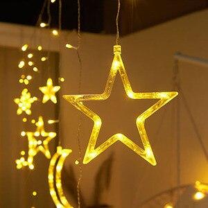 Image 4 - 220V Spina di UE Luna Star LED Tenda Luci Di Natale Fata Ghirlande Outdoor LED Scintillio Luci Della Stringa di Vacanze Decorazione di Festival