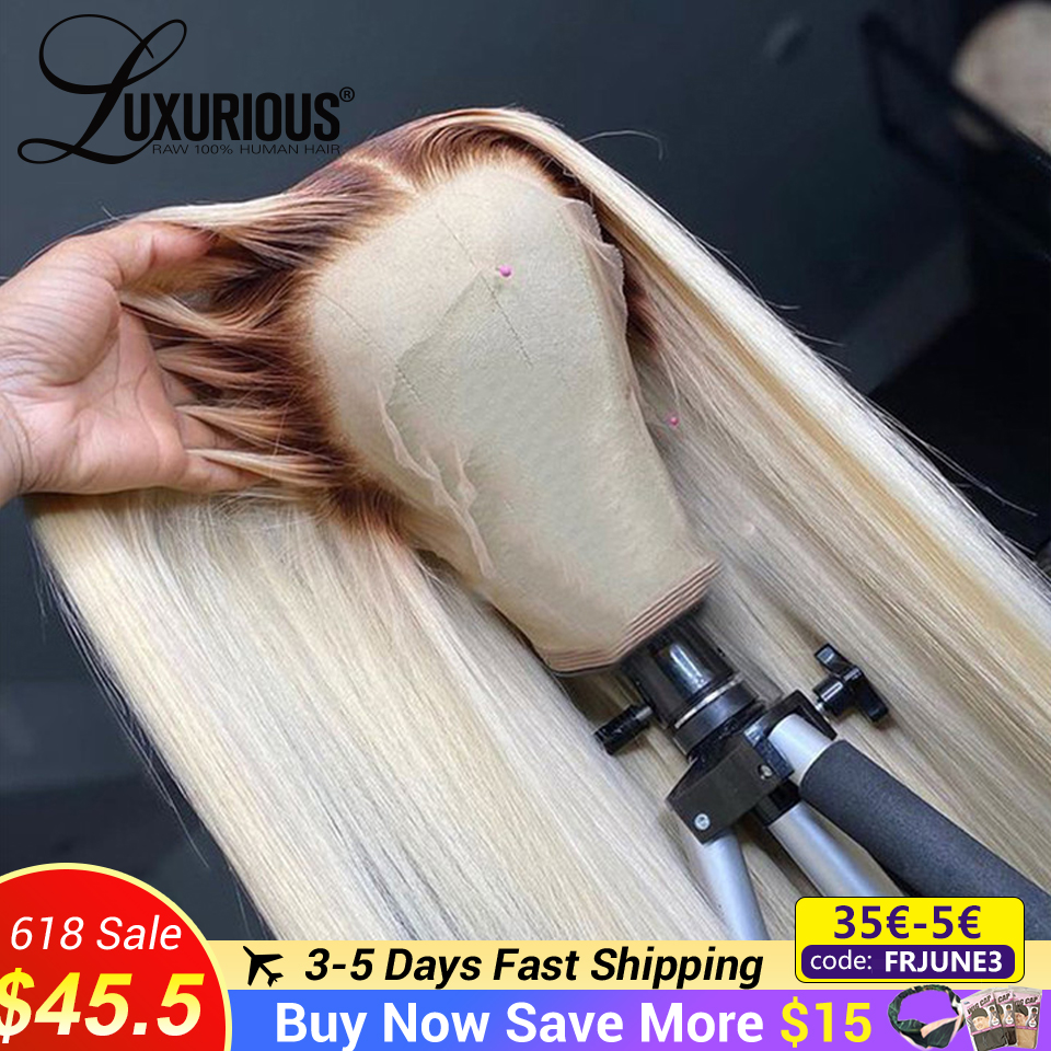 Омбре блонд человеческие волосы парики для женщин прямые 4T613 бразильские волосы Remy 613 кружевной передний парик прозрачные кружевные парики ...