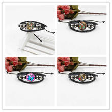 New hot sale butterfly retro crystal glass bracelet woven leather fashion jewelry butterfly fish hot sale fashion 100