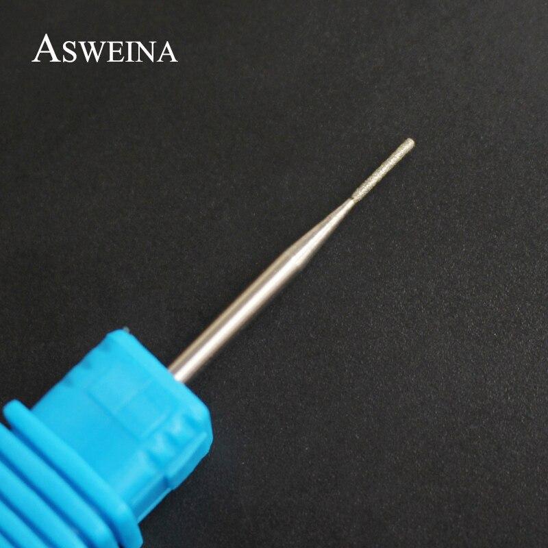 ASWEINA 1Pcs 0.9MM Diamond Tiny Head Rotary Nail Salon Drill Bits Mounted On Nail Machine Tools Electric Burr Milling Cutte