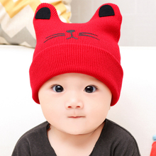 Cute Cat Knitted Woolen Baby Hats Turban Warm Bonnet Caps Solid Soft Hat For Childern Girls Boys Elastic Beanies Autumn Winter