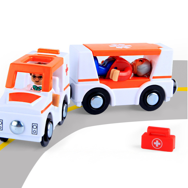 Acoustic and Electric Simulation Ambulance Puzzle <font><b>Car</b></font> Magnet Link <font><b>Model</b></font> Magnetic Train <font><b>Car</b></font> Compatible with Wooden Track Toy Toy image