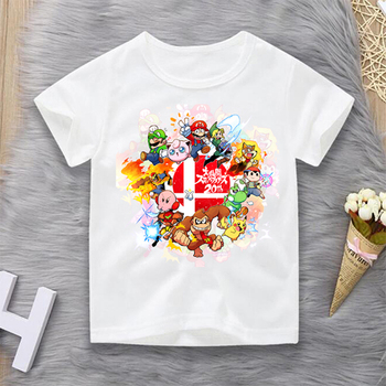 Summer Children Super Mario Bros T Shirts New Girls Boys Funny Graphic Print T-shirts Kids Tee Tops Toddler Costume Baby Clothes baby girl clothes summer the super mario bros tshirt cotton cartoon t shirts boys short sleeve tops kids funny tee shirt fille