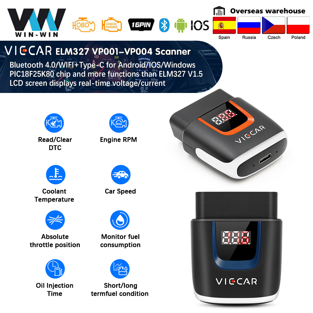 Viecar vp003 elm327 bluetooth 4.0 pic18f25k80 obd 2 obd2 wifi elm 327 scanner ferramentas de automóvel odb2 diagnóstico do carro para android/ios